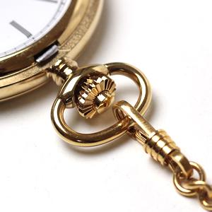 懐中時計のリューズ部分 専用チェーン付き