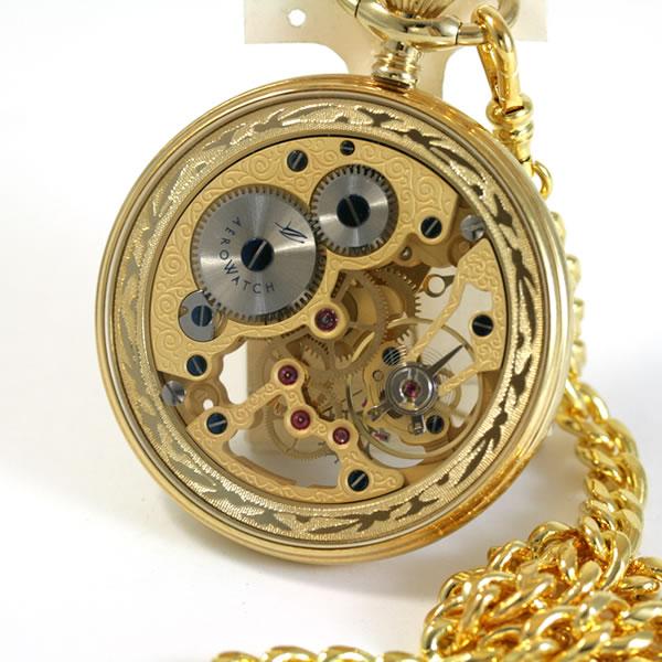 両面フルスケルトンのアエロ懐中時計