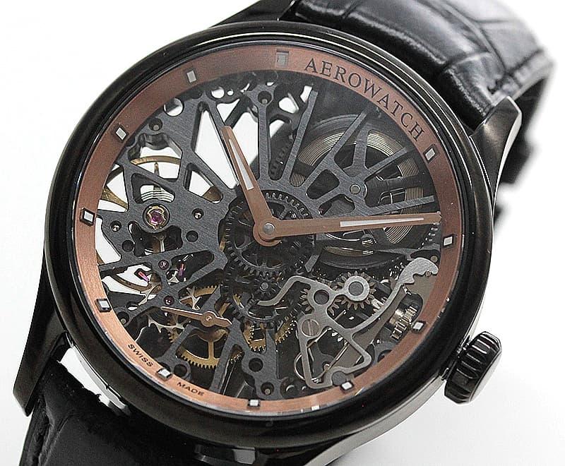 アエロ(AERO)/スケルトンCobweb/手巻き式/A50981NO20 ブラックカラー 腕時計