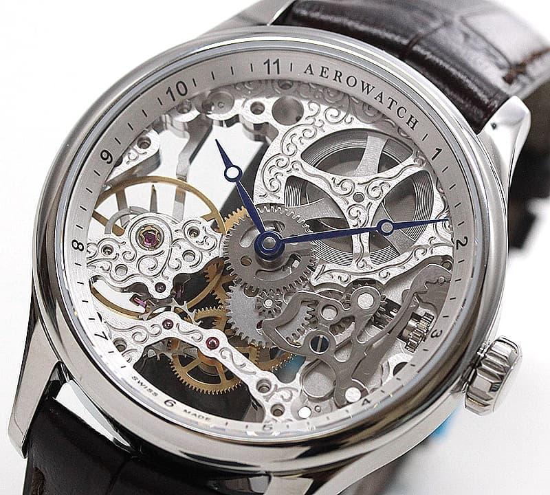 アエロ(AERO)/スケルトン/手巻き式/A57981AA01 シルバーカラー 腕時計