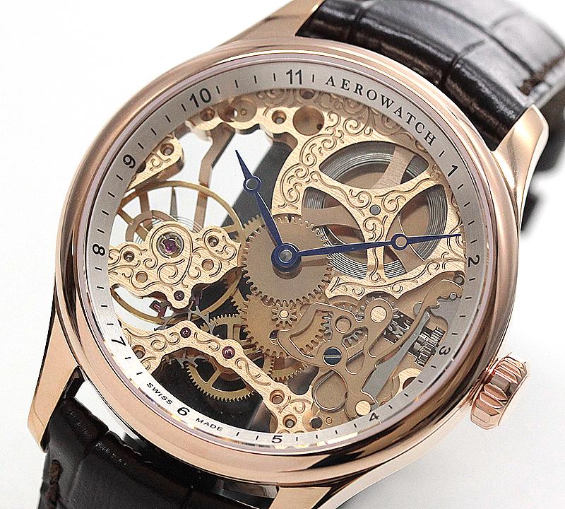 アエロ(AERO) /スケルトン/手巻き式/A57981R101 ピンクゴールド 腕時計