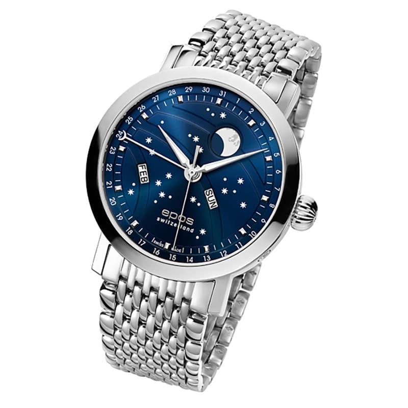 エポス(epos)/OEUVRE D'ART/ビッグムーン(Big Moon)3440BLM ブルー 腕時計