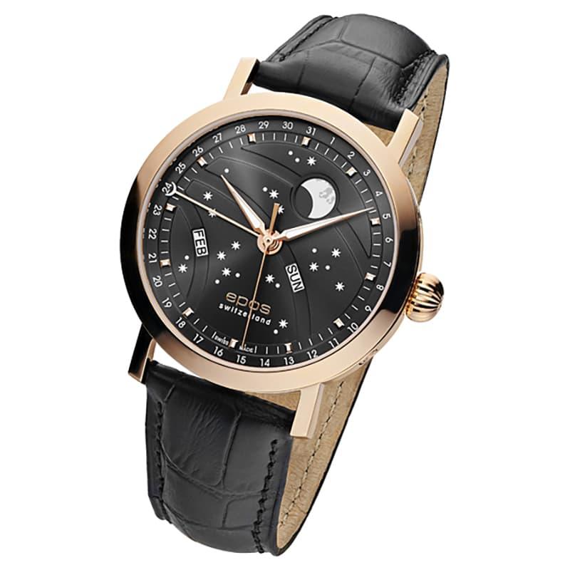エポス(epos)/OEUVRE D'ART/ビッグムーン(Big Moon)3440RGGY ブラック 腕時計