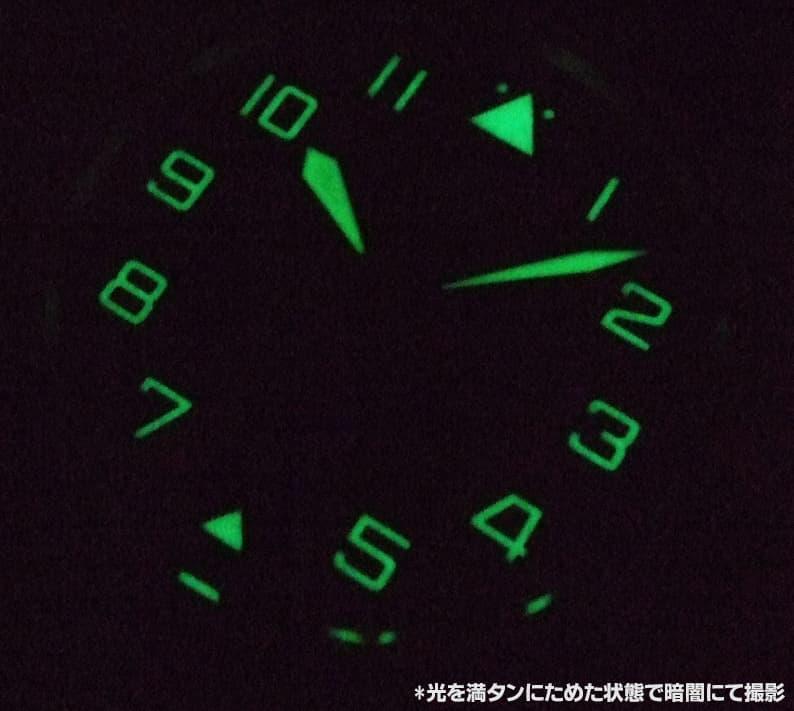 グリーンに光るスーパールミノバ仕上げで、暗闇でも抜群の視認性を誇ります