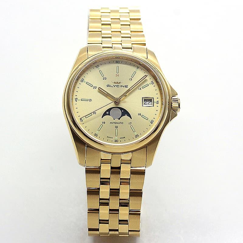 GLYCINE(グリシン) COMBAT CLASSIC(コンバット クラシック)36  自動巻き ムーンフェイズ  GL0247 イエローゴールド 腕時計
