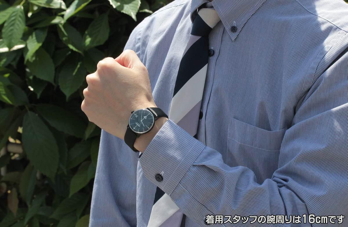 6071-4qz-203594 試着画像 モデルの腕周りは16cmです