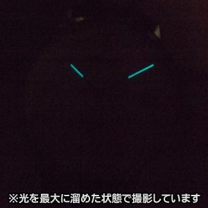 暗闇でも時間が確認できる蓄光文字盤