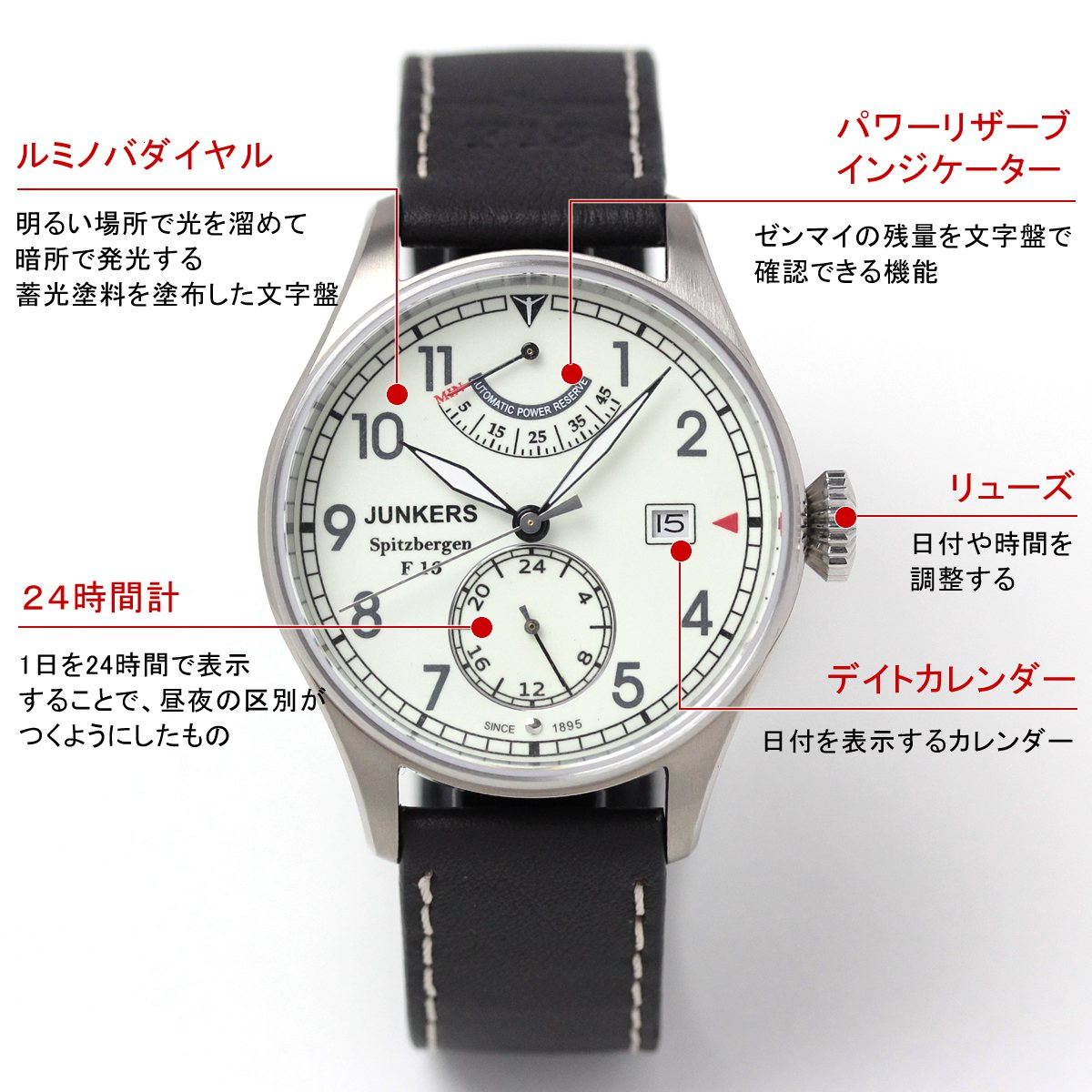 ユンカース腕時計 6160-5at-203572 機能詳細 スモールセコンドにデイトカレンダー、パワーリザーブインジケーター搭載モデル