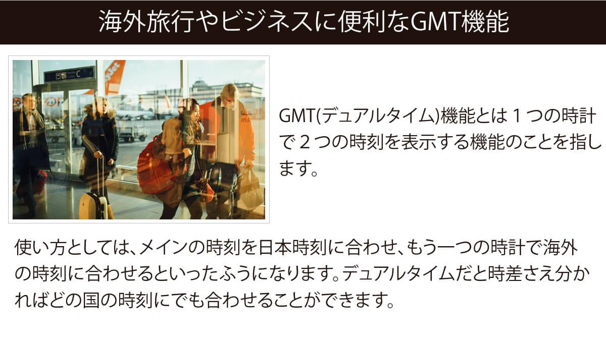 海外旅行やビジネスに便利なGMT機能