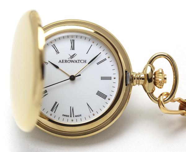 アエロウォッチ 04821ja01 懐中時計 蓋付き ゴールドカラー