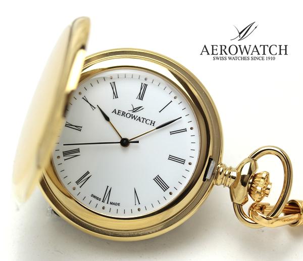 アエロウォッチ AERWATCH 懐中時計 蓋付き ゴールドカラー