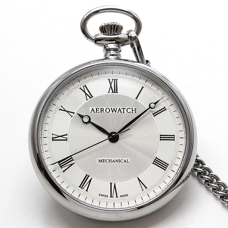 アエロ(AERO) オープンフェイス 手巻き式 40828PD02 シルバーカラー 懐中時計