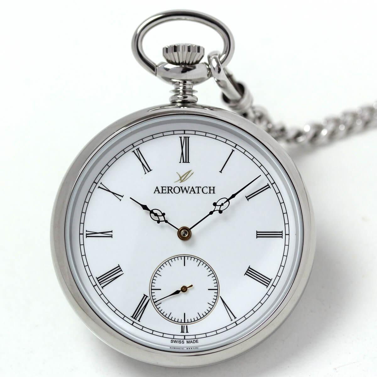 AERO(アエロ) 手巻き式懐中時計 ローマン数字のクラシカルデザイン