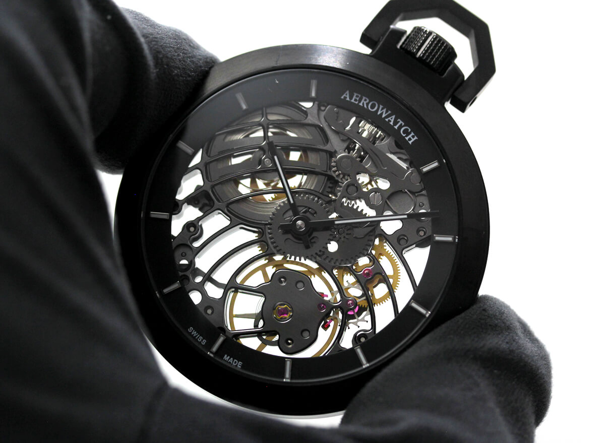 AERO(アエロ)手巻き式懐中時計 50818no02sq ブラックケース スケルトンウォッチ
