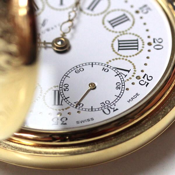 模様が彫り込まれた懐中時計の裏側