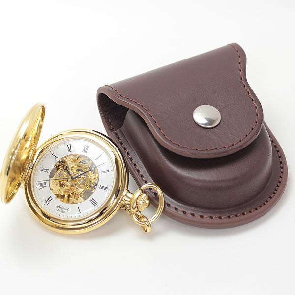 懐中時計とレザーケース