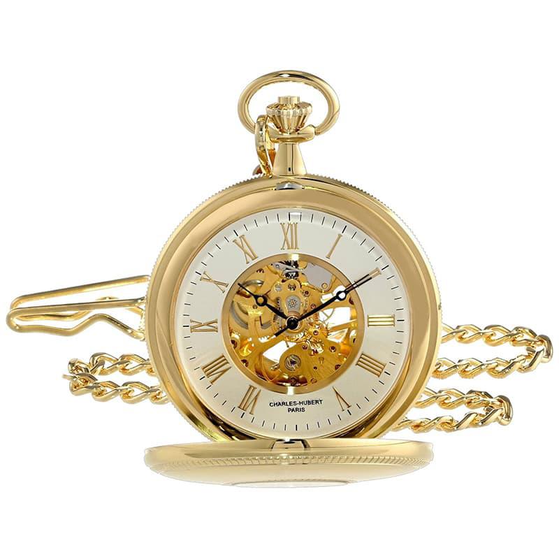 両面スケルトン懐中時計