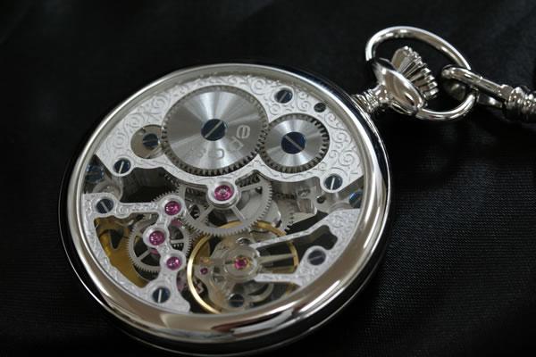 バックスケルトン懐中時計