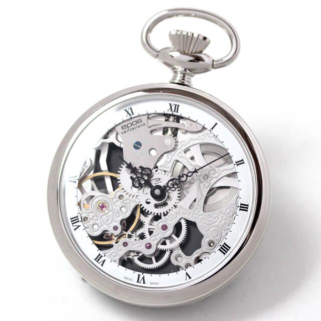 エポス epos 懐中時計 機械式 フルスケルトン スモールセコンドがないモデル