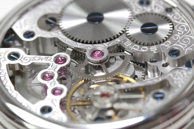 エポス フルスケルトン懐中時計 2003asl スケルトン部分アップ