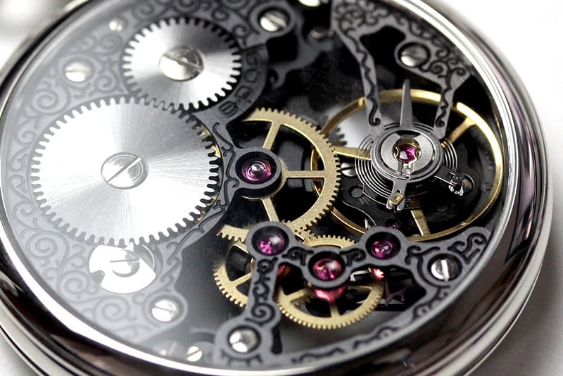 エポス フルスケルトン懐中時計 2003SKBK スケルトン部分アップ