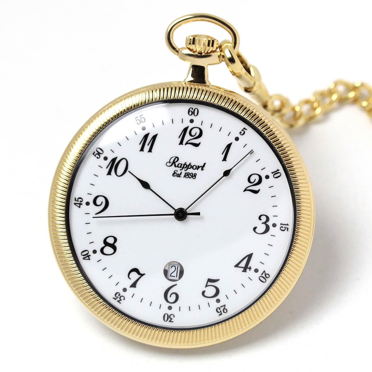 イギリスブランド rapport(ラポート) 懐中時計 pw32 ゴールドカラーのオープンフェイスモデル