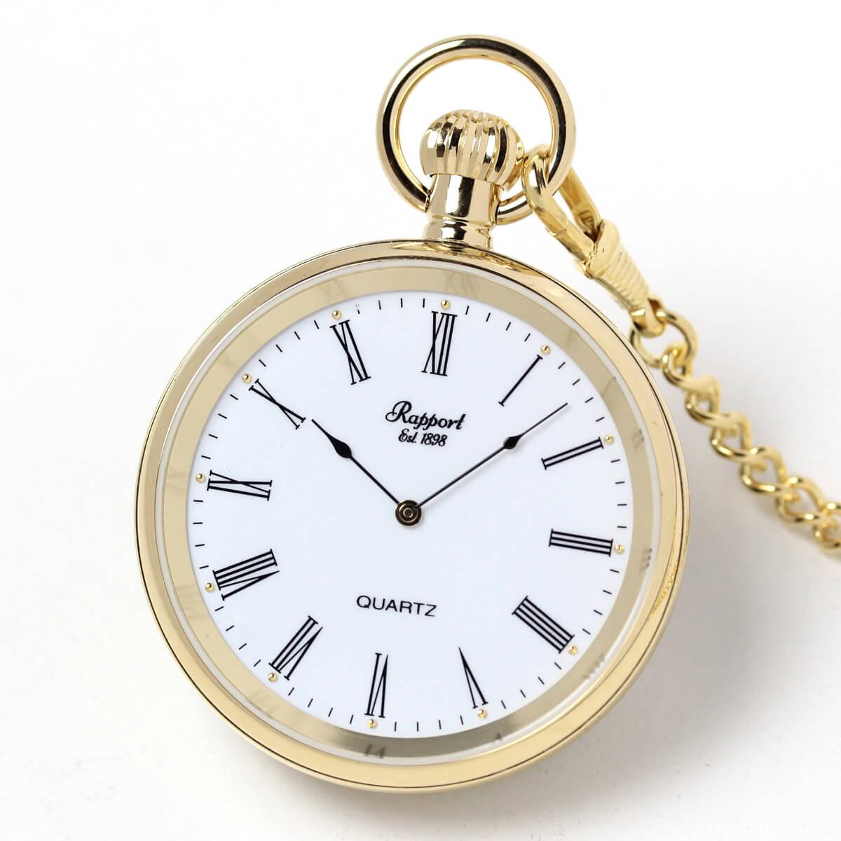 イギリスブランド rapport(ラポート) 懐中時計 pw38 ゴールドカラーのオープンフェイスモデル