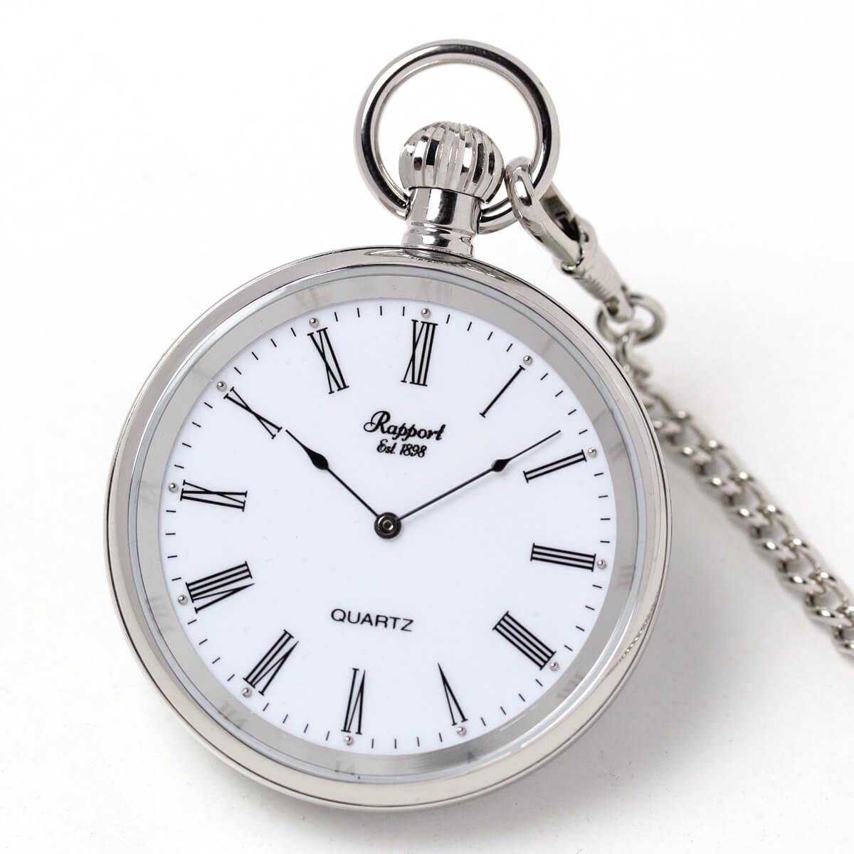 イギリスブランド rapport(ラポート) 懐中時計 pw39 シルバーカラーのオープンフェイスモデル