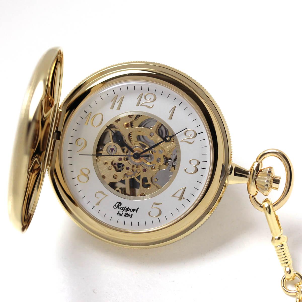 イギリスブランド rapport(ラポート) 懐中時計 pw46 ゴールドカラーの両蓋開きスケルトンモデル