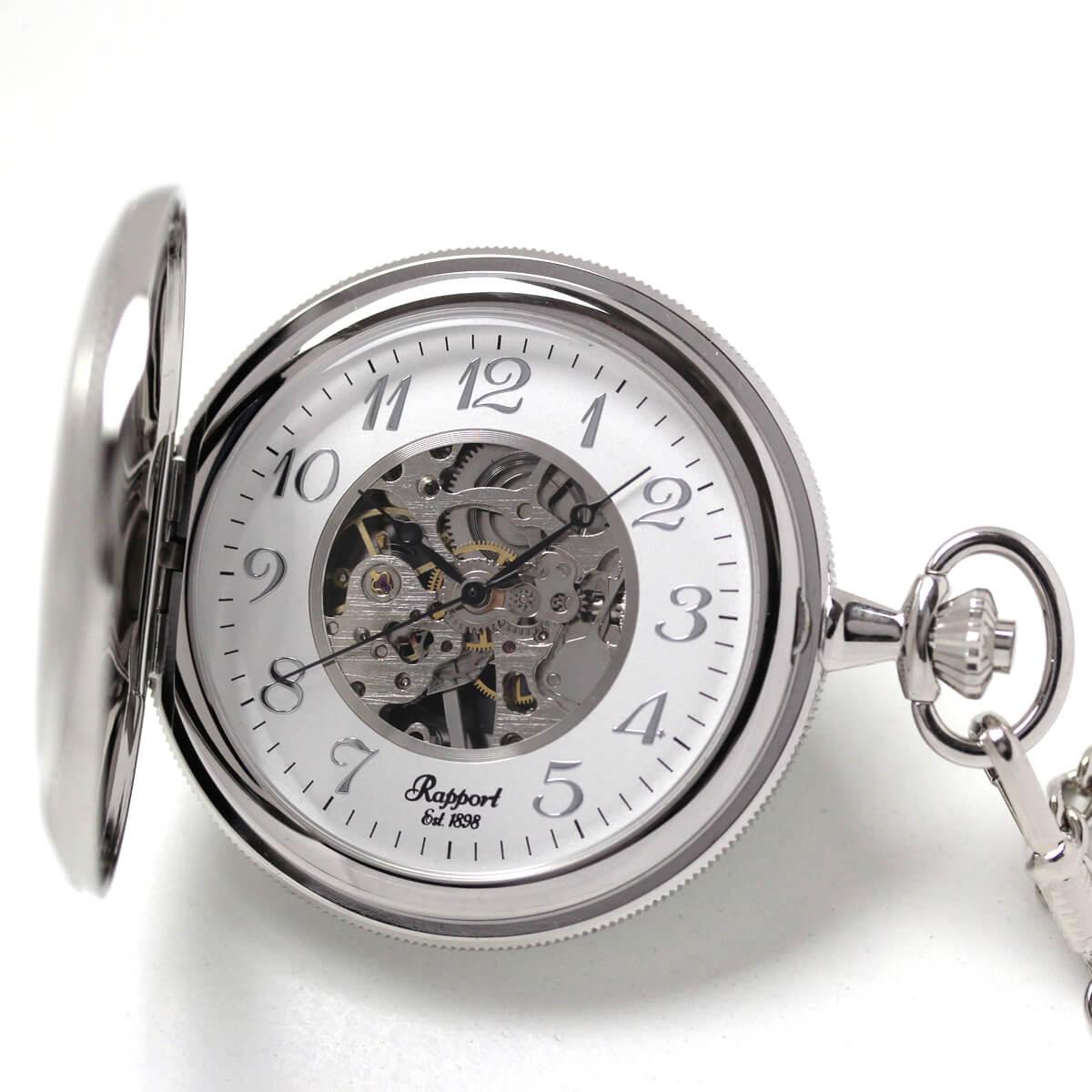 イギリスブランド rapport(ラポート) 懐中時計 pw47 シルバーカラーの両蓋開きスケルトンモデル