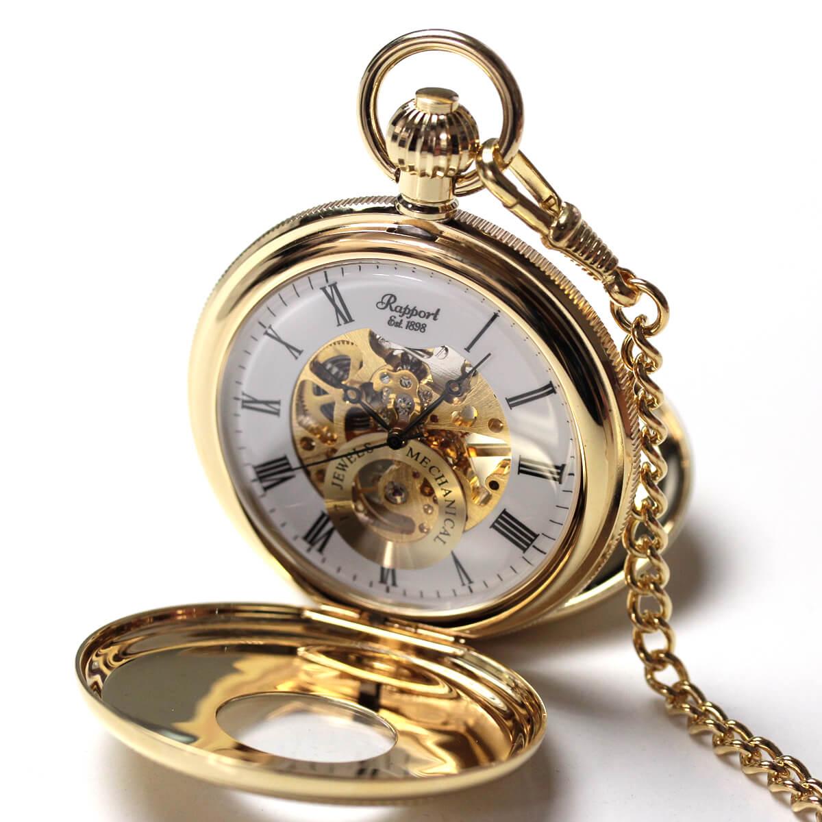 イギリスブランド rapport(ラポート) 懐中時計 pw48 ゴールドカラーの両蓋開きスケルトンモデル