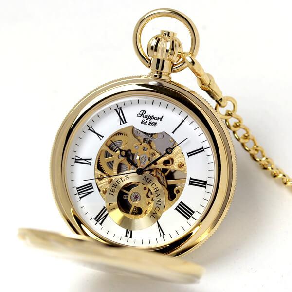 イギリスブランド rapport(ラポート) 懐中時計 pw48 ゴールドカラーの両蓋開きスケルトン