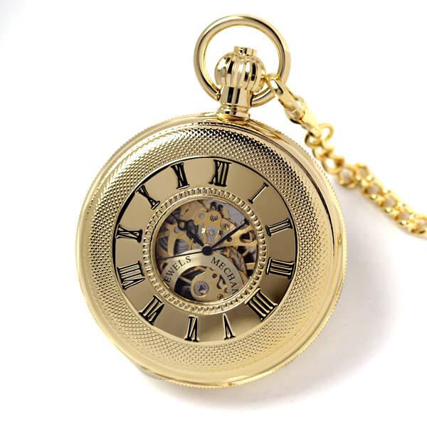 イギリスブランド rapport(ラポート) 懐中時計 pw48 両蓋開きスケルトン 蓋を閉じたイメージ