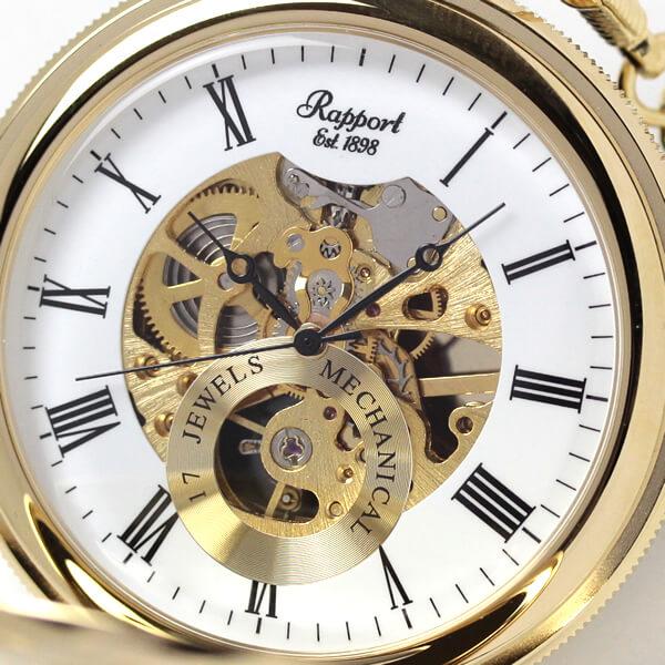 イギリスブランド rapport(ラポート) 懐中時計 pw48 スケルトン部分アップ