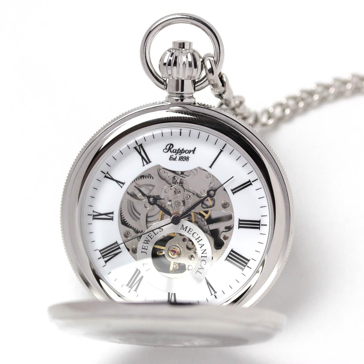 イギリスブランド rapport(ラポート) 懐中時計 pw49 シルバーカラーの両蓋開きスケルトンモデル