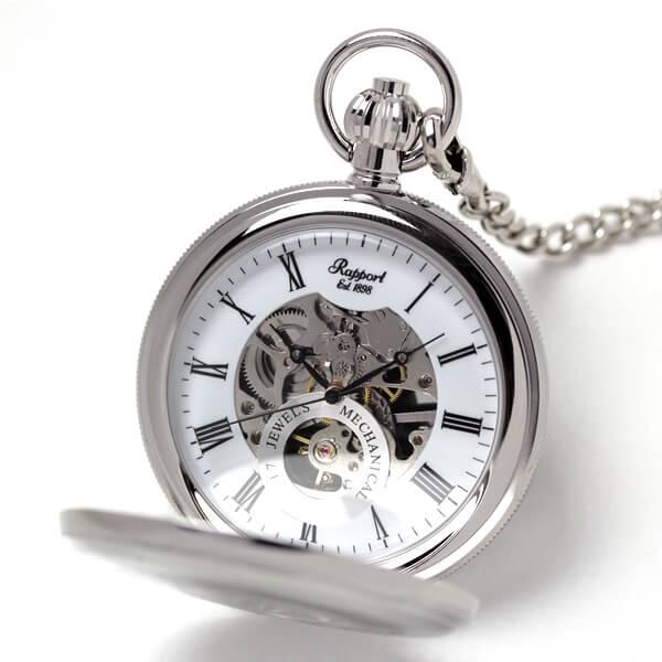 イギリスブランド rapport(ラポート) 懐中時計 pw49 シルバーカラーの両蓋開きスケルトン