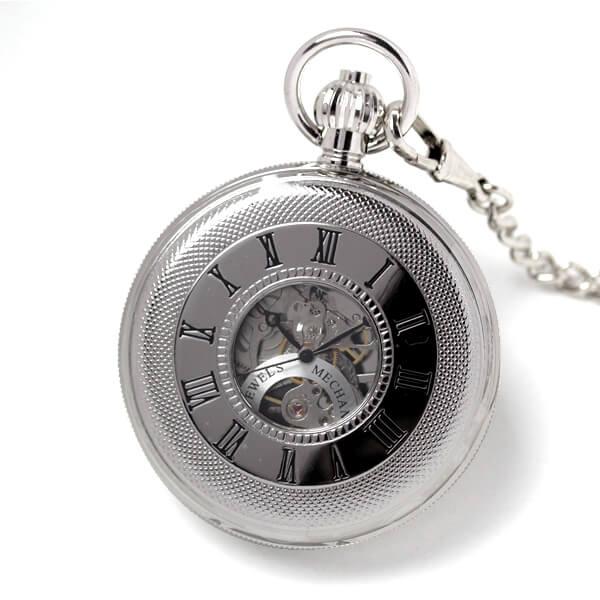 イギリスブランド rapport(ラポート) 懐中時計 pw49 両蓋開きスケルトン 蓋を閉じたイメージ