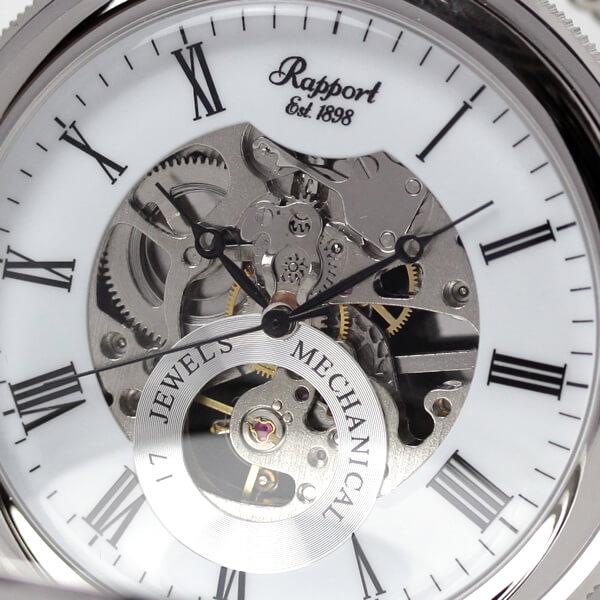 イギリスブランド rapport(ラポート) 懐中時計 pw49 スケルトン部分アップ