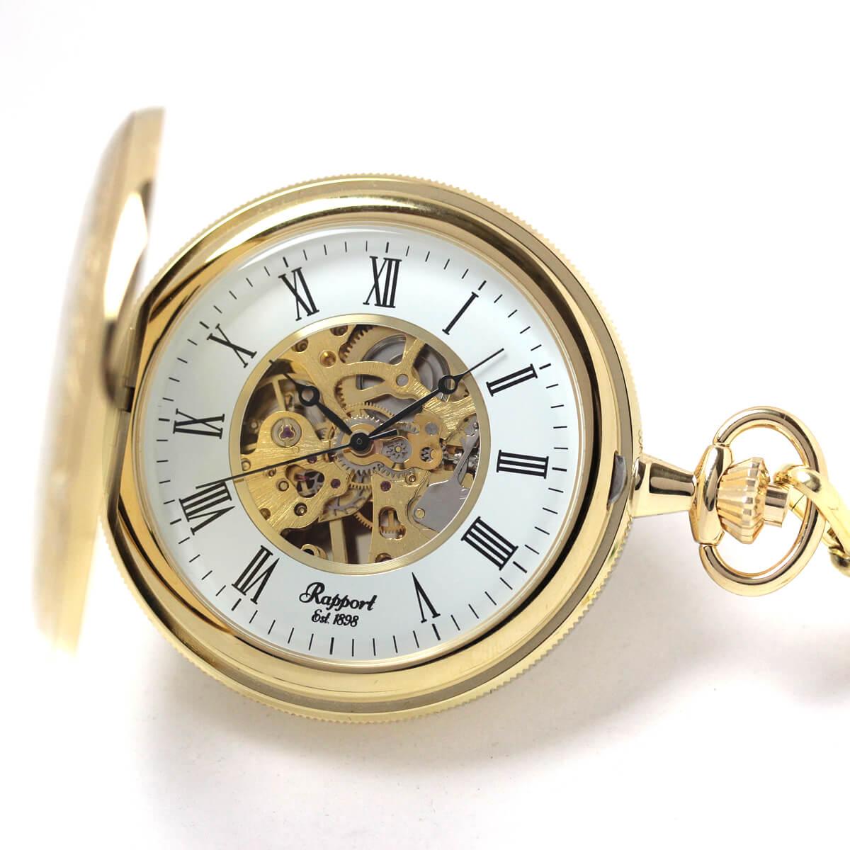 イギリスブランド rapport(ラポート) 懐中時計 pw58 ゴールドカラーの両蓋開きスケルトンモデル
