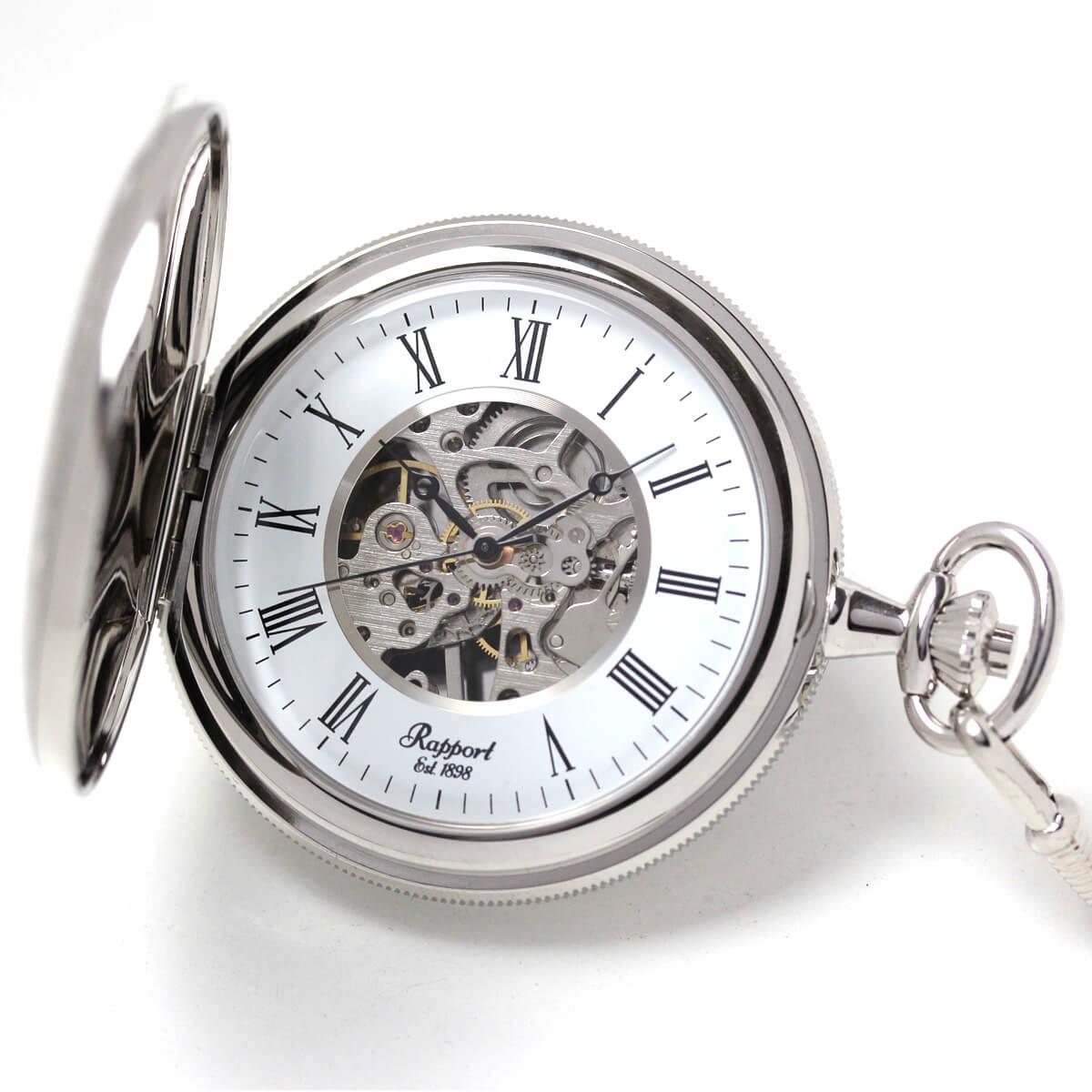 イギリスブランド rapport(ラポート) 懐中時計 pw59 シルバーカラーの両蓋開きスケルトンモデル