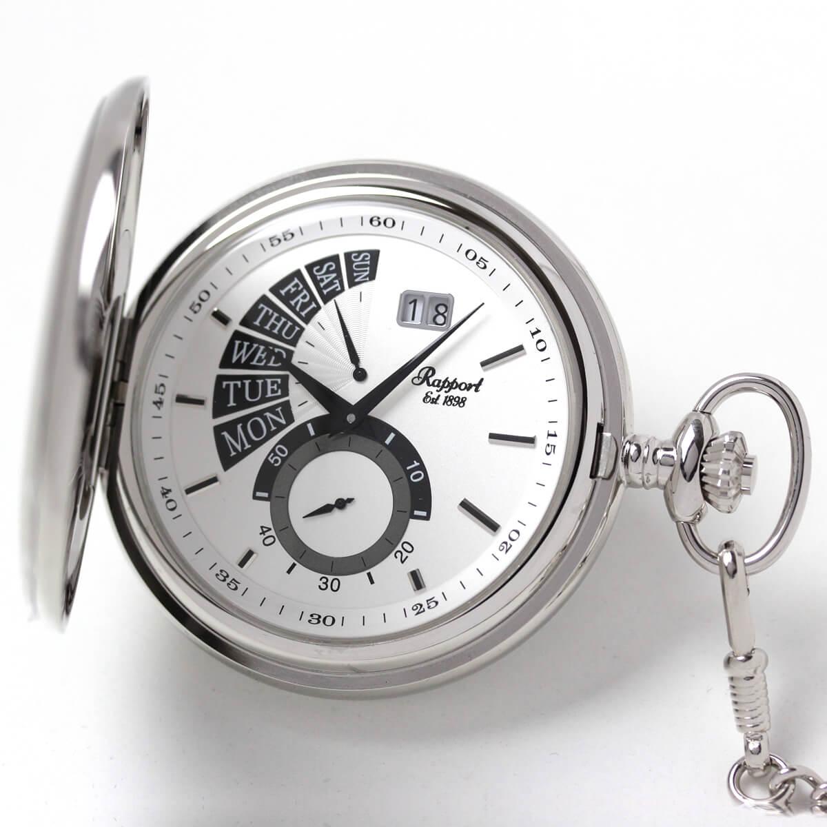 曜日と日付が確認できるクォーツ式の懐中時計