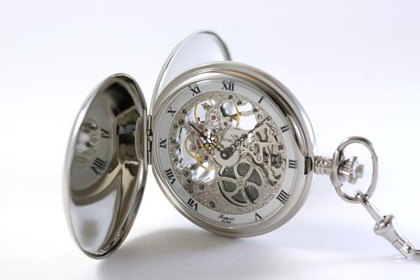 ラポート 両開きスケルトン懐中時計