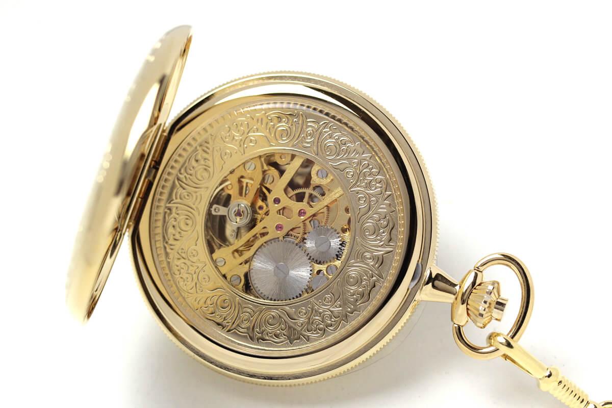 イギリスブランド rapport(ラポート) 懐中時計 pw96 裏蓋を開いたところ