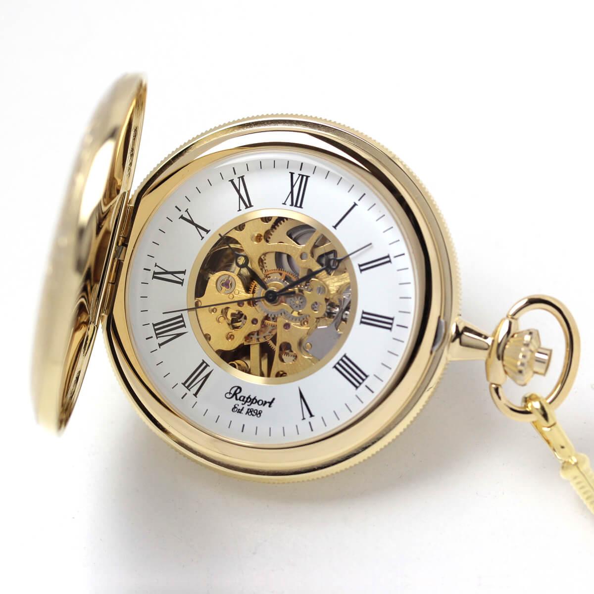 イギリスブランド rapport(ラポート) 懐中時計 pw96 ゴールドカラーの両蓋開きスケルトンモデル