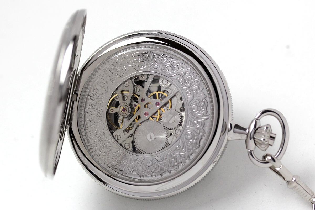 イギリスブランド rapport(ラポート) 懐中時計 pw97 裏蓋を開いたところ
