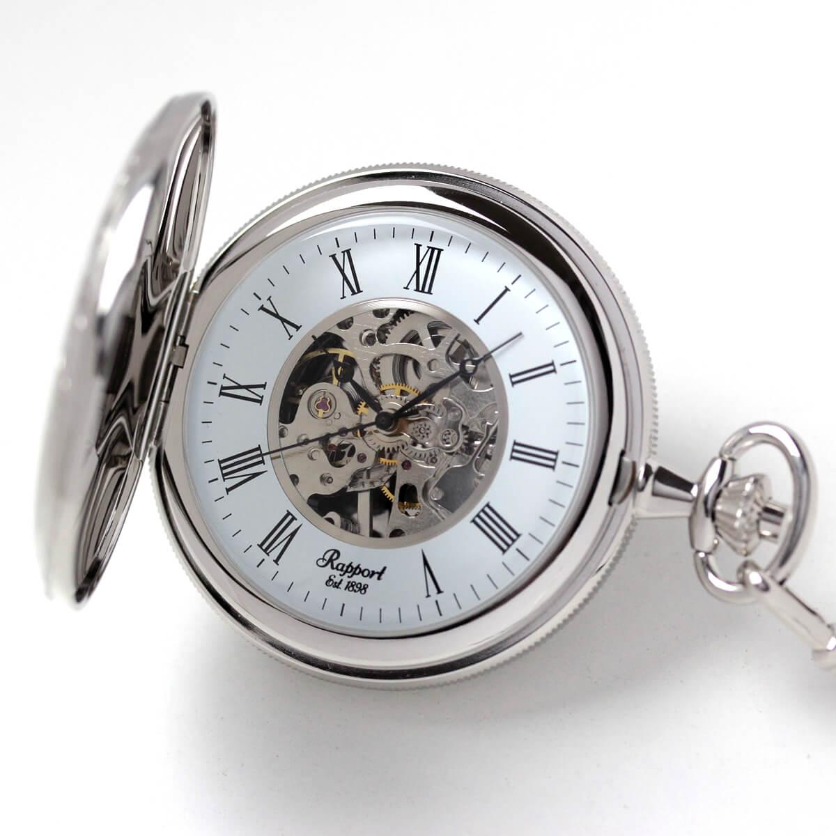 イギリスブランド rapport(ラポート) 懐中時計 pw97 ゴールドカラーの両蓋開きスケルトンモデル