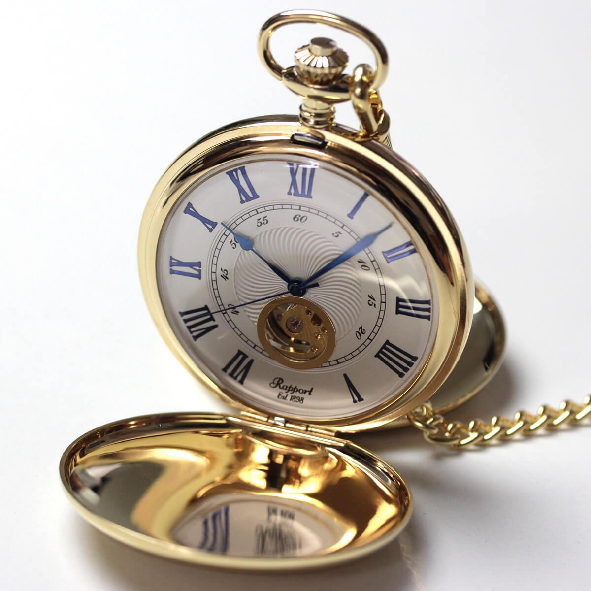 イギリスブランド rapport(ラポート) 懐中時計 pw98 ゴールドカラーの両蓋開きスケルトンモデル