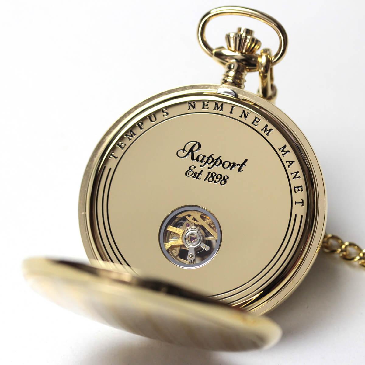 イギリスブランド rapport(ラポート) 懐中時計 pw98 裏蓋を開いたところ