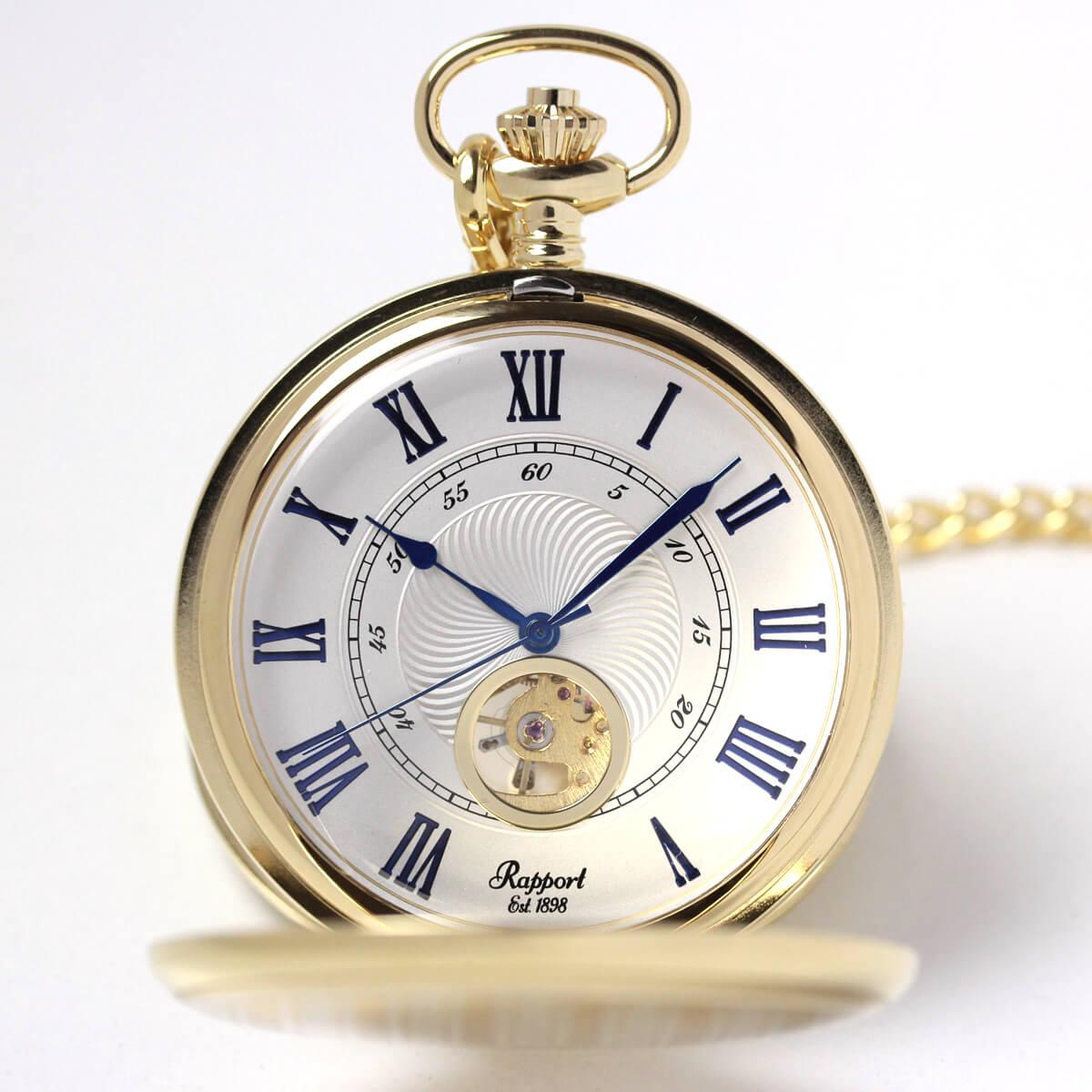 イギリスブランド rapport(ラポート) 懐中時計 pw98 ゴールドカラーの両蓋開きモデル
