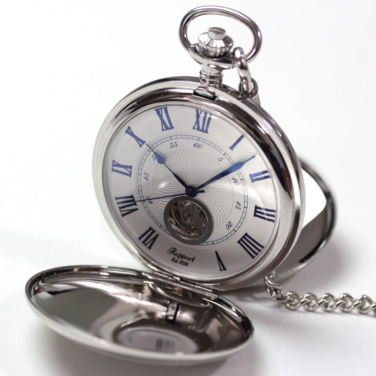 イギリスブランド rapport(ラポート) 懐中時計 pw99 シルバーカラーの両蓋開きオープンハートモデル